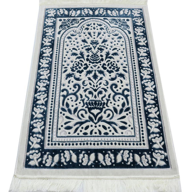 Marmara Velvet Islamic Prayer Rug - Blue / White