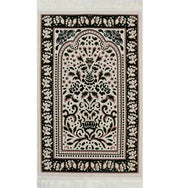 Marmara Velvet Islamic Prayer Rug - Green / Pink