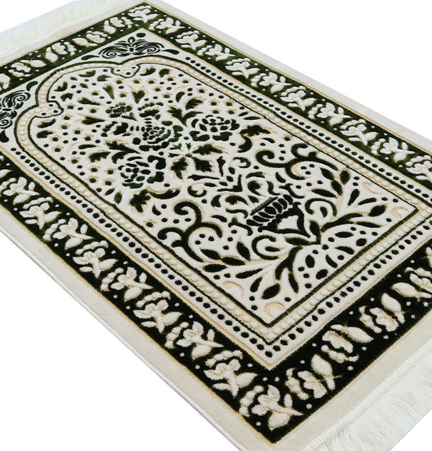 Modefa Prayer Rug Marmara Velvet Islamic Prayer Rug - Green / Yellow