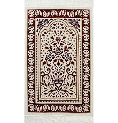 Modefa Prayer Rug Marmara Velvet Islamic Prayer Rug - Red / White