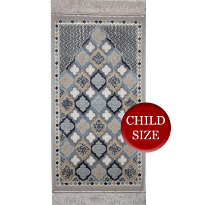 Modefa Prayer Rug Moroccan Grey Luxury Velvet Islamic Prayer Rug Child Size - Moroccan Grey