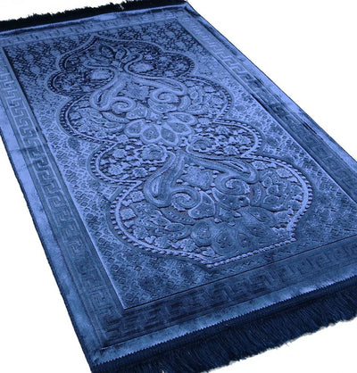 Modefa Prayer Rug Navy Blue Luxury Velvet Islamic Prayer Rug Paisley Navy Blue