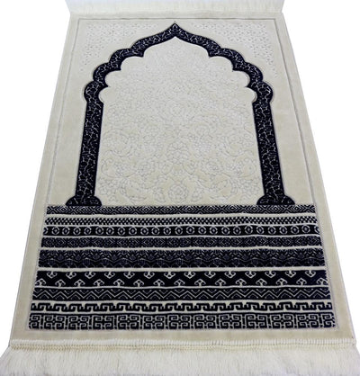 Modefa Prayer Rug Navy Blue Plush Velvet Islamic Prayer Rug Royal Mihrab - Navy Blue