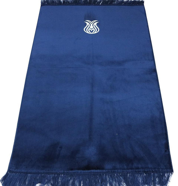 Solid Simple Velvet Prayer Rug with Tulip - Navy Blue