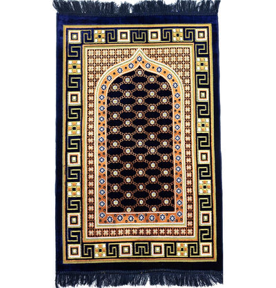 Modefa Prayer Rug Navy Blue Velvet Islamic Prayer Rug Lattice - Navy Blue