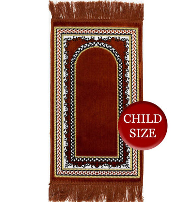 Modefa Prayer Rug Orange Child Velvet Islamic Prayer Rug  Vine Border (Orange)