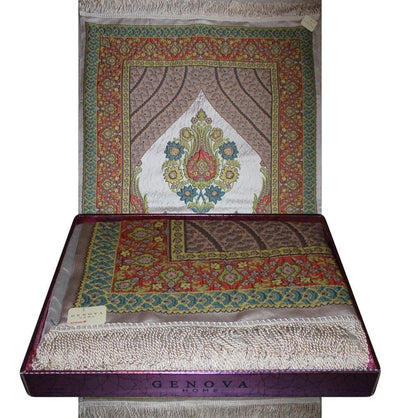 Modefa Prayer Rug Orange / Green Large Wide Luxury Embroidered Islamic Prayer Mat Gift Box Set 'Jacobean' Tulip- Orange / Green