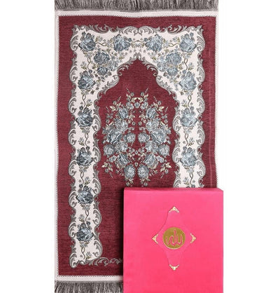 Modefa Prayer Rug Pink 3 (Women's) Women's Luxury Islamic Quran & Prayer Rug Gift Set 5 Pieces in Velvet Box - Pink 3