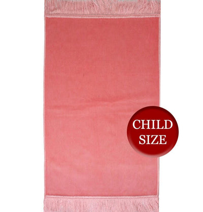 Modefa Prayer Rug Pink Child Velvet Islamic Prayer Rug - Pink