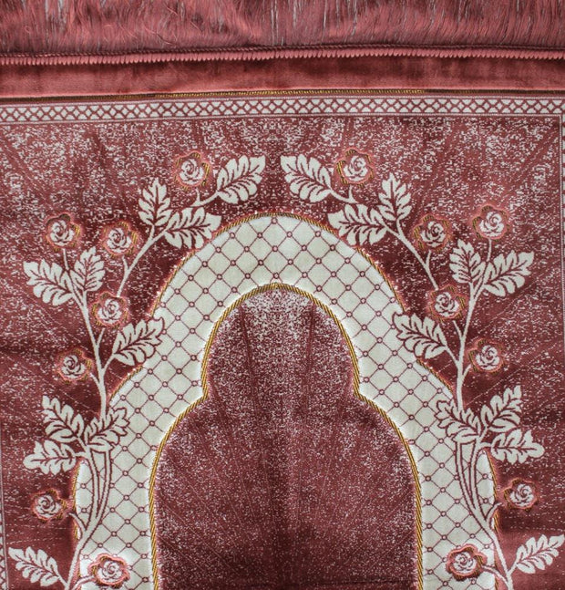 Modefa Prayer Rug Pink Velvet Wide Large Islamic Prayer Rug Gate of Paradise Pink