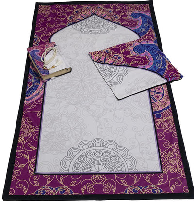 Modefa Prayer Rug Pink/White Luxury Islamic Quran & Prayer Rug 4 Piece Gift Set - Pink/White