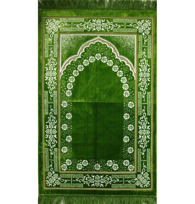 Plush Ipek Islamic Prayer Rug Bright Green Floral