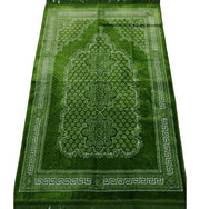 Plush Ipek Islamic Prayer Rug - Geometric Floral Bright Green