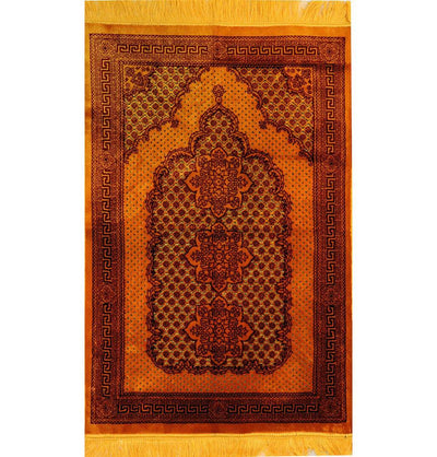 Plush Ipek Islamic Prayer Rug - Geometric Floral Gold