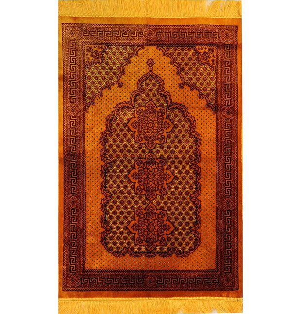 Modefa Prayer Rug Plush Ipek Islamic Prayer Rug - Geometric Floral Gold