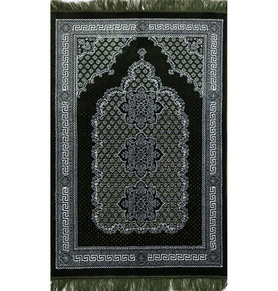 Modefa Prayer Rug Plush Ipek Islamic Prayer Rug - Geometric Floral Green