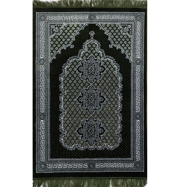 Plush Ipek Islamic Prayer Rug - Geometric Floral Green