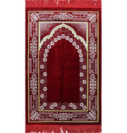 Plush Ipek Islamic Prayer Rug Red Floral