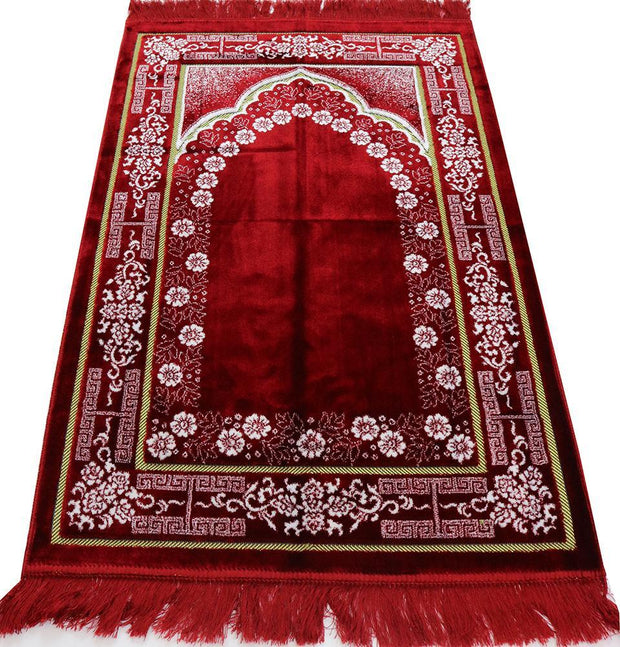 Modefa Prayer Rug Plush Ipek Islamic Prayer Rug Red Floral