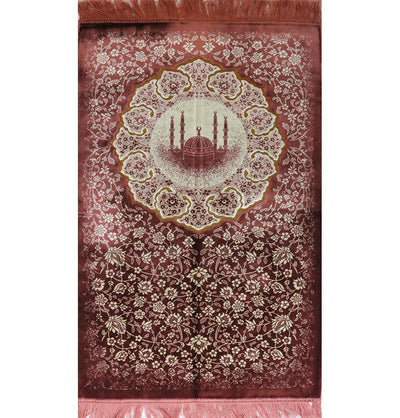 Plush Velvet Islamic Prayer Rug - Floral Mosque Pink