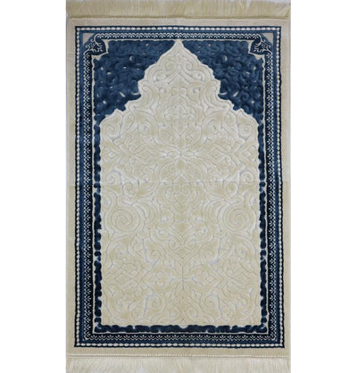 Modefa Prayer Rug Plush Velvet Islamic Prayer Rug Sina - Simple Blue - Modefa