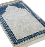 Modefa Prayer Rug Plush Velvet Islamic Prayer Rug Sina - Simple Blue