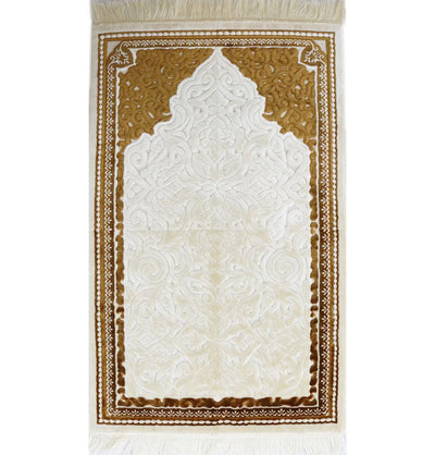 Plush Velvet Islamic Prayer Rug Sina - Simple Gold