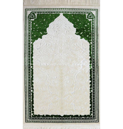 Plush Velvet Islamic Prayer Rug Sina - Simple Green