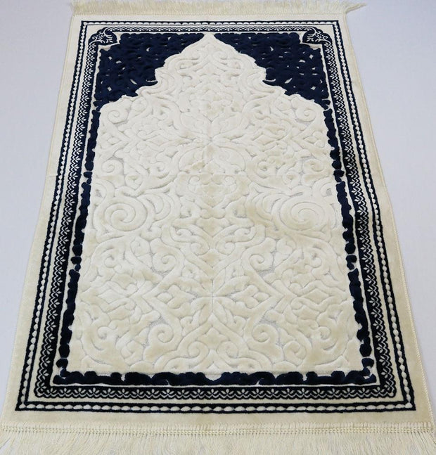 Modefa Prayer Rug Plush Velvet Islamic Prayer Rug Sina - Simple Navy Blue