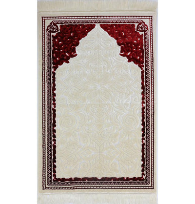 Modefa Prayer Rug Plush Velvet Islamic Prayer Rug Sina - Simple Red - Modefa