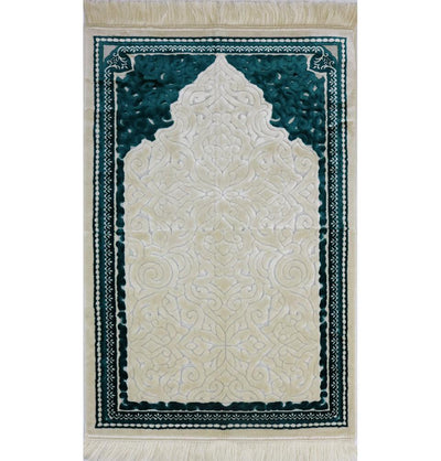 Modefa Prayer Rug Plush Velvet Islamic Prayer Rug Sina - Simple Teal - Modefa