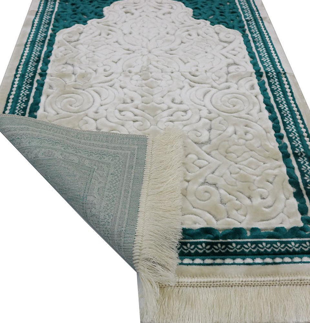 Modefa Prayer Rug Plush Velvet Islamic Prayer Rug Sina - Simple Teal
