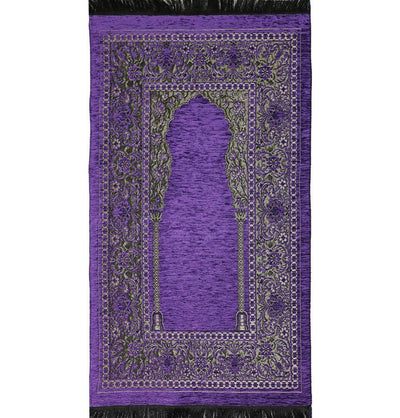 Modefa Prayer Rug Purple Embroidered Islamic Prayer Mat - Purple