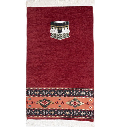 Modefa Prayer Rug Red Luxury Woven Chenille Islamic Prayer Rug - Kaba Red