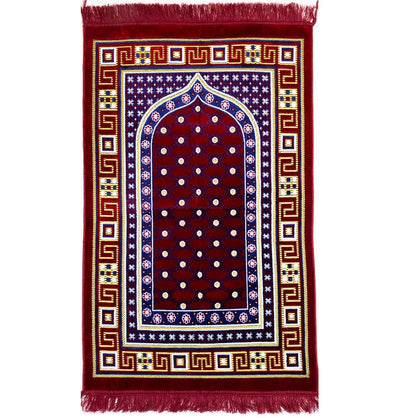 Modefa Prayer Rug Red Velvet Islamic Prayer Rug Lattice - Red