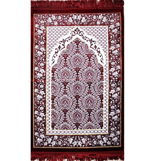 Modefa Prayer Rug Red / White Plush Ipek Islamic Prayer Rug Red Floral
