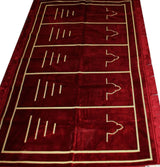 Modefa Prayer Rug Red Wide 5 Person Masjid Prayer Rug Solid Red