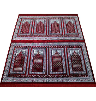 Modefa Prayer Rug Red Wide 8 Person Masjid Islamic Prayer Rug - Red