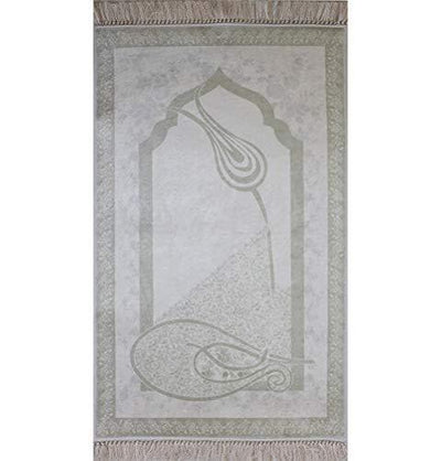 Rolled Foam Islamic Prayer Rug - White Tulip