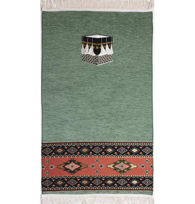 Modefa Prayer Rug Sage Green Luxury Woven Chenille Islamic Prayer Rug - Kaba Sage Green