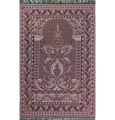 Shimmery Thin Arched Tulip Islamic Prayer Mat - Pink