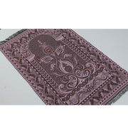 Modefa Prayer Rug Shimmery Thin Arched Tulip Islamic Prayer Mat - Pink