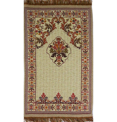 Modefa Prayer Rug Shimmery Thin Floral Islamic Prayer Mat - Red/Orange