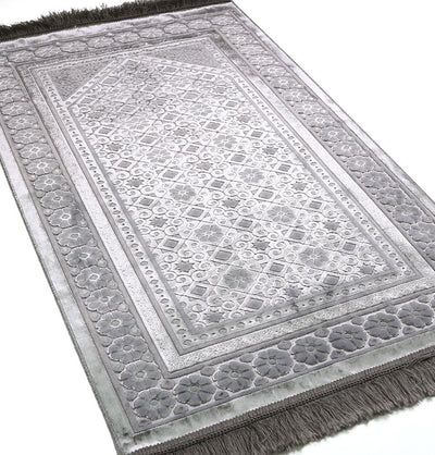 Modefa Prayer Rug Silver Grey Luxury Velvet Islamic Prayer Rug Floral Stamp Silver Grey
