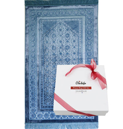 Modefa Prayer Rug Steel Blue Luxury Velvet Islamic Prayer Rug Gift Box Set with Prayer Beads - Steel Blue