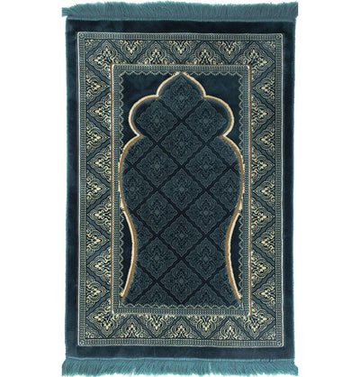 Modefa Prayer Rug Teal Double Plush Wide Extra Large Prayer Rug - Teal