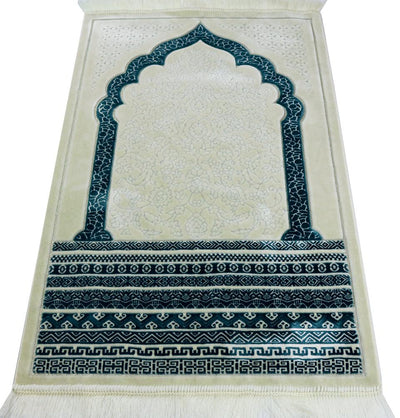 Modefa Prayer Rug Teal Plush Velvet Islamic Prayer Rug Royal Mihrab - Teal