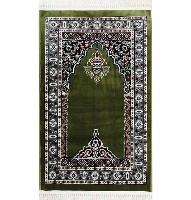 Modefa Prayer Rug Traditional Floral Kilim Islamic Prayer Rug - Green