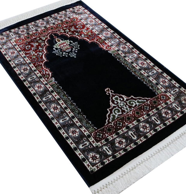Traditional Floral Kilim Islamic Prayer Rug - Navy Blue