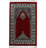 Modefa Prayer Rug Traditional Floral Kilim Islamic Prayer Rug - Red